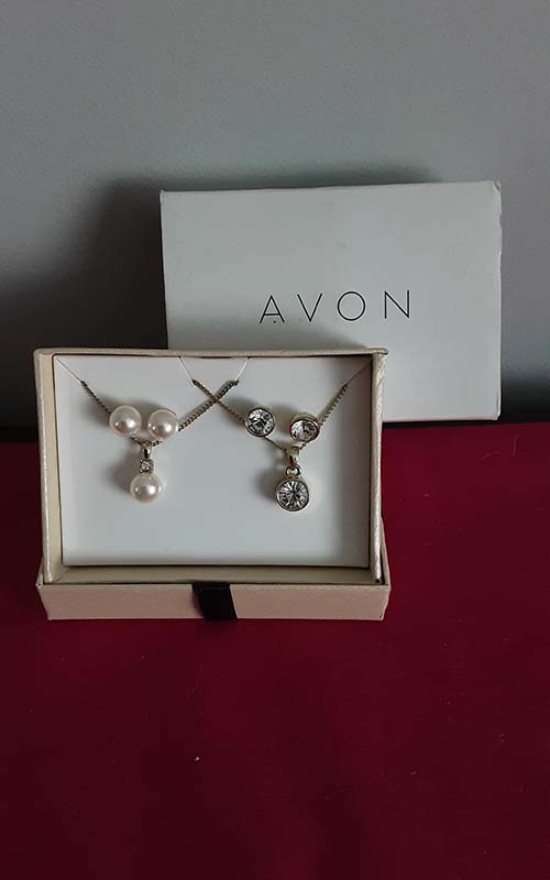 Avon set of 2 necklaces & earrings