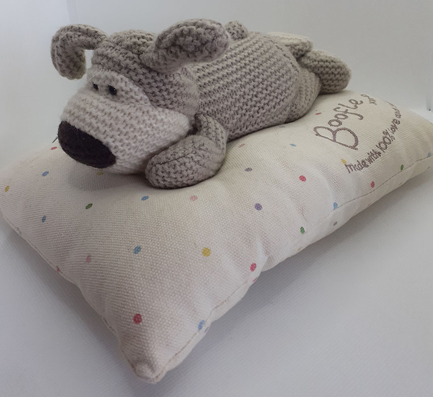 Boofle Dog on his bed