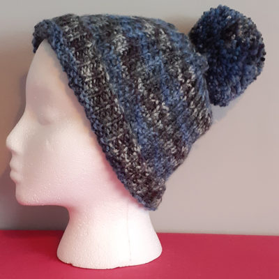 Multi-coloured Hanknitted Bobble Hat