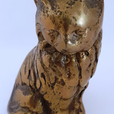 Solid Brass Paperweight Cat