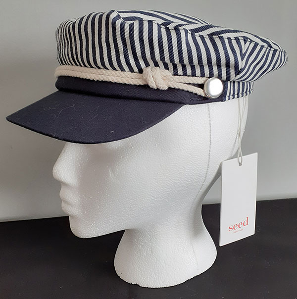 Navy and White peaked hat
