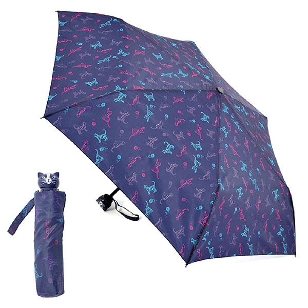Ladies Compact Cat Design Umbrella