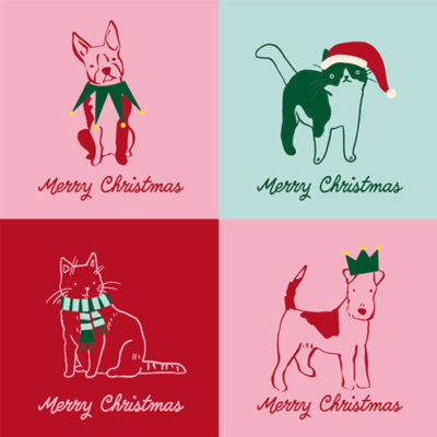 Cat and Dog Christmas Cards